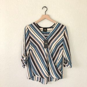 Anthropologie W5 Striped 3/4 Sleeve Blouse